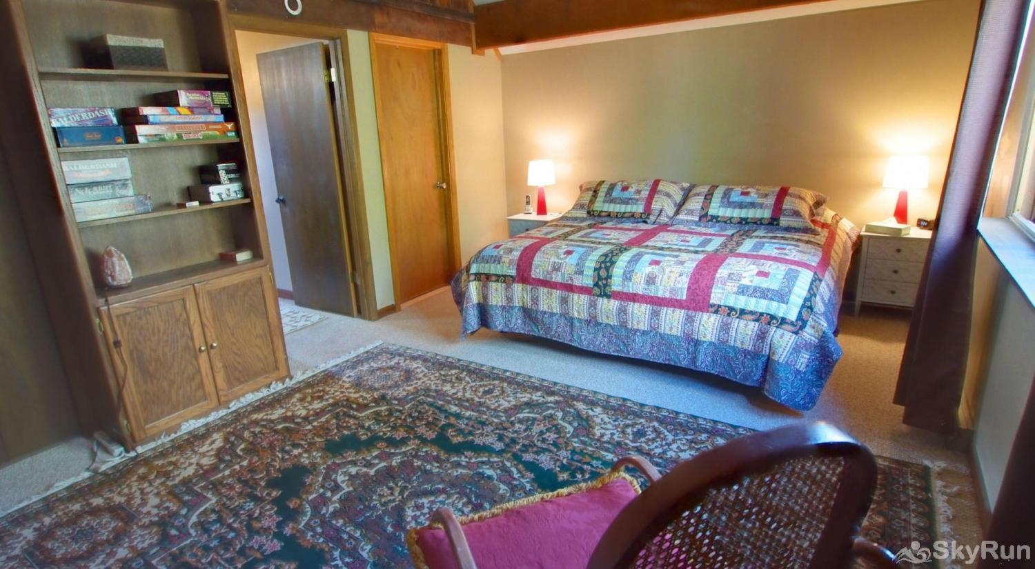 Dory Lakes Cabin King Master Room upstairs.